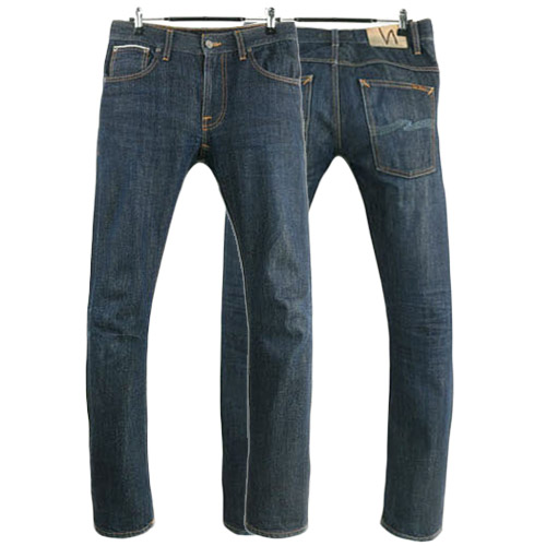 NUDIE JEANS THIN FINN DRY HEAVY SELVAGE ITALY 누디진 씬핀 셀비지 청바지 데님팬츠 SIZE 28 루스, ROOS