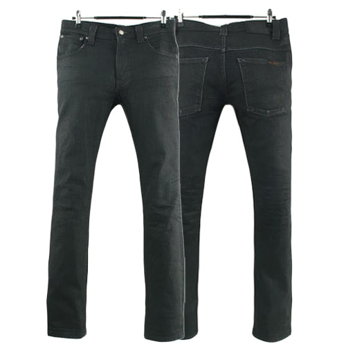 NUDIE JEANS THIN FINN ORG BACK 2 BLACK ITALY 누디진 씬핀 드블코 팬츠 SIZE 27 루스, ROOS